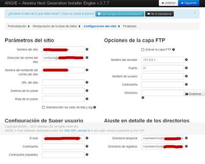 Parametros configuración Joomla