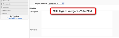 Meta tags categorias virtuemart