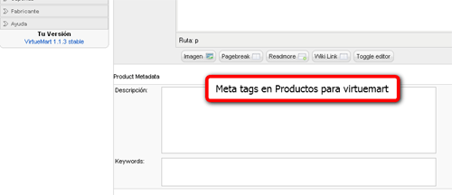 Meta tags productos virtuemart