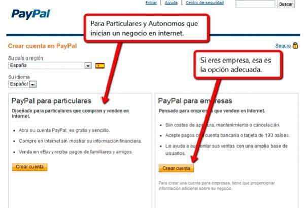Crear cuenta Paypal para Vender Online