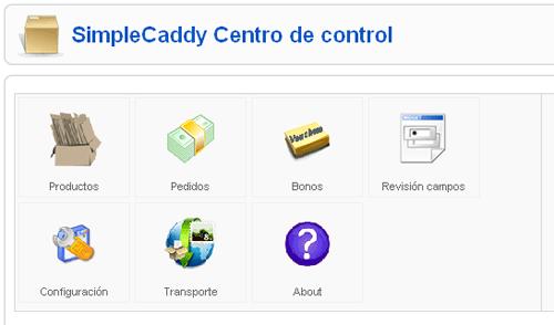 Panel de control simple caddy
