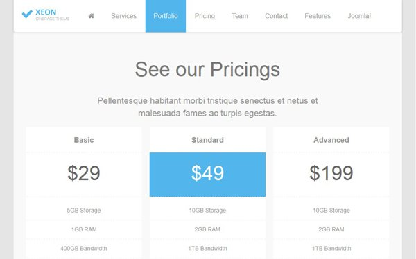 Módulo joomla Pricing table