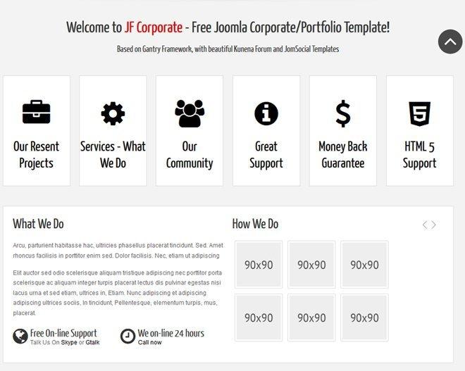 Pagina de inicio Template Corporate