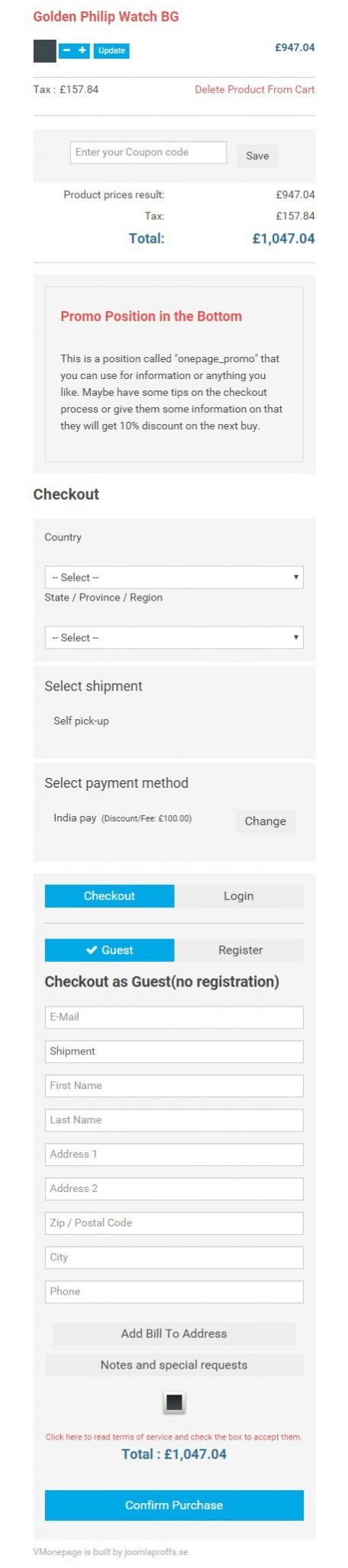 Plugins Joomla One Page Checkout para Virtuemart