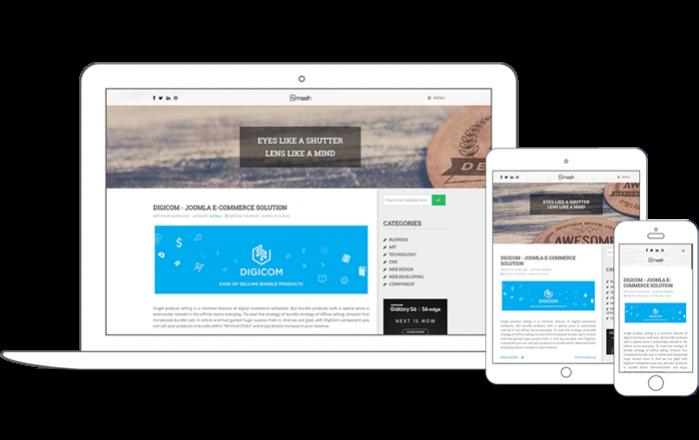 Template Joomla Blog Zmash, con ecommerce DigiCOM