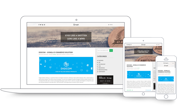 Template Joomla Blog Zmash, con ecommerce DigiCOM