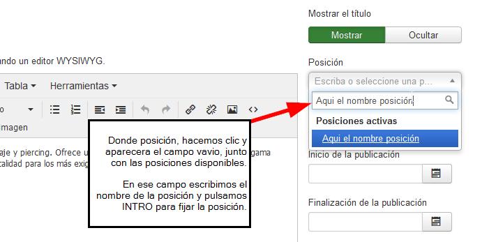 Cómo insertar módulos en los contenidos