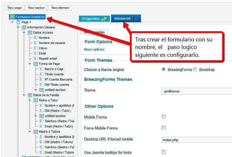 Configuración formulario