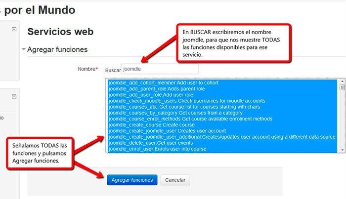 Agregar funciones a usuario joomdle