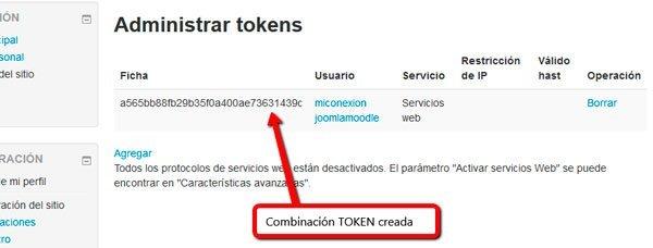 Ficha token creada - Moodle sincronizado con joomla