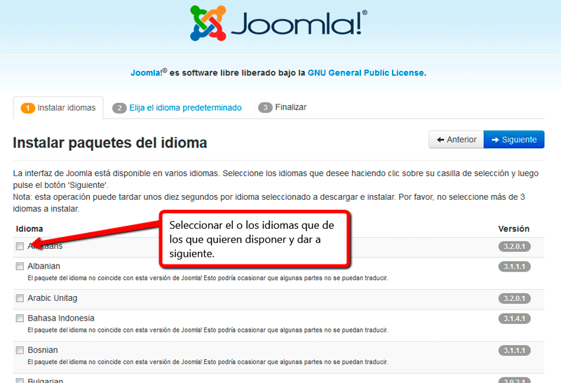 Selección idiomas en instalación joomla